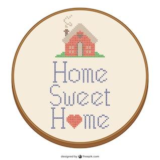Hogar, dulce hogar diseño de punto de cruz