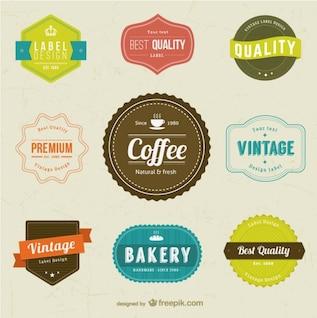 Diseños de etiquetas de café y panadería