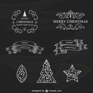 Colección de etiquetas de Navidad estilo retro