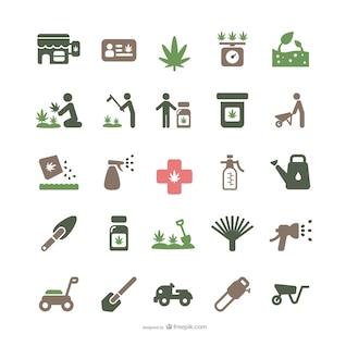 De marihuana y la jardinería iconos Medicinales