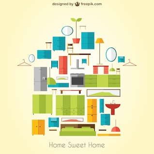 Home Sweet Home vector con muebles