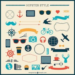 Colección de los elementos Hipster