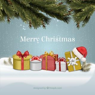 Tarjeta de Navidad de la vendimia con cajas de regalo