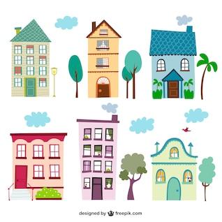 Casas coloridas de la vendimia