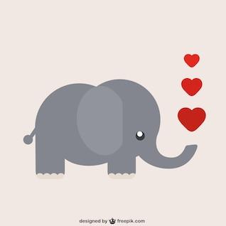Dibujo animado del elefante con el corazón