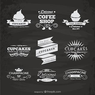 Etiquetas de cafetería y cupcakes