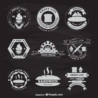 Etiquetas vintage de panadería y pastelería