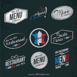 Etiquetas de restaurante francés