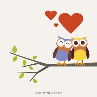 Búhos en el amor de dibujos animados