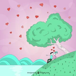 Dibujo romántico del día de San Valentín