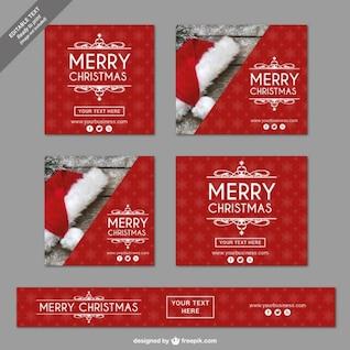 Banners vintage de Feliz Navidad