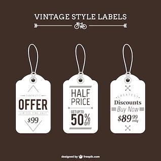 Etiquetas estilo vintage de compras