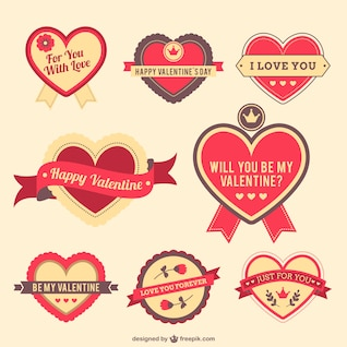 Pegatinas de corazones de San Valentín