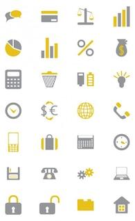 Elegantes iconos de negocios conjunto de vectores