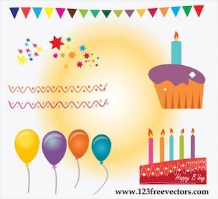 Pastel de cumpleaños de vectores
