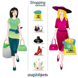 Personajes de compras y los elementos