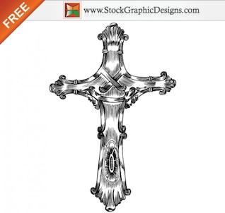 Dibujado a mano libre de vectores de la Cruz