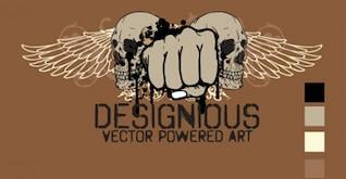 Vector T diseño de la camiseta con el cráneo, las alas y los puños