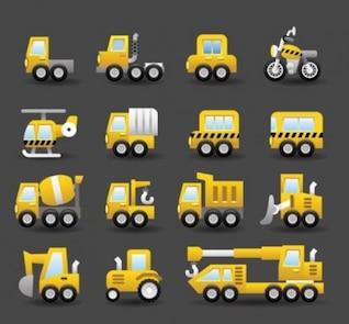 Pack de coches de camiones de transporte de vectores
