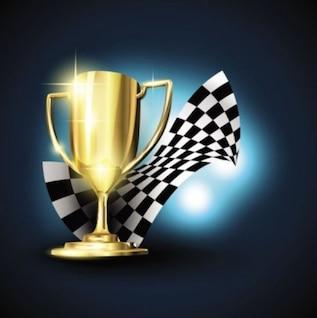 Trofeo de oro de dibujos animados con la bandera a cuadros