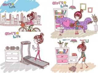 Gente chica de la limpieza y funcionando vida