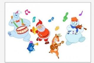 Santa y los osos que tocan los instrumentos