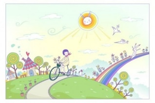 Paisaje de dibujos animados de primavera con el arco iris