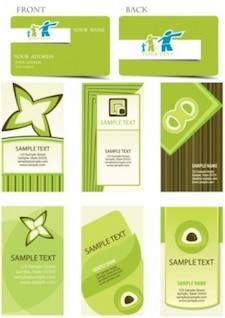 Las muestras de la tarjeta verde con diferentes formas