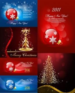 Gratis hermosa navidad adornos de vectores de fondo azul, oro, rojo, blanco, árbol inteligente lindo