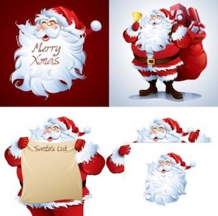 Gratis santa claus dibujos animados imagen vectorial lindo rojo blanco brillante colorido elegante oro hermosa campana