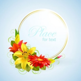 Invitación de boda con anillos de oro y flores de colores cálidos.