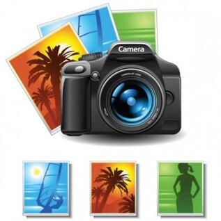 Gratis misc lente de la cámara de fotos vector palma playa sol woma verde naranja azul vacaciones de verano