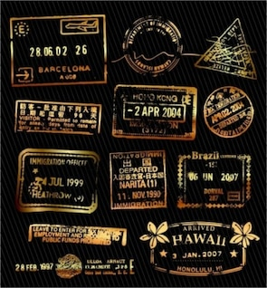 misc clásico sello de oro palillo de naranjo negro vintage