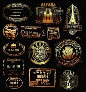 Países de vector de oro sellado