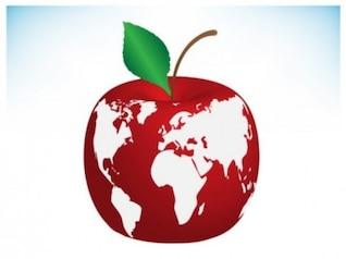 Manzana roja con el mapa del mundo