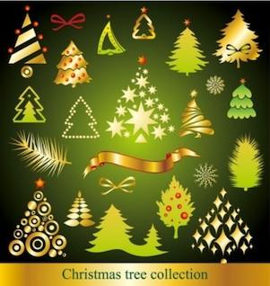dibujos animados vector gratis de una variedad de árboles de Navidad