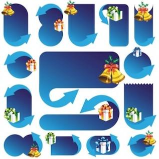 Gratis exquisita caja de regalo de la Navidad cinta inteligente lindo cuadro de diálogo vector azul campana