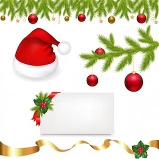 Gratis árboles de Navidad, vector bola esfera roja blanca linda cinta de oro