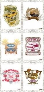 Gratis misc clásico europeanstyle posters nostalgia vector coche bicicleta rojo marrón amarillo verde cosecha inteligente