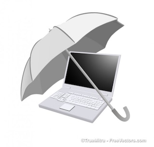 Paraguas en la computadora portátil