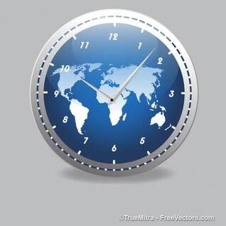 Reloj moderno con mapa del mundo