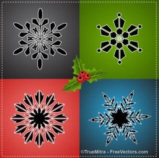 Copos de nieve de colores para Navidad
