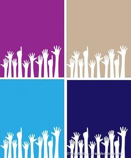 Conjunto de siluetas de manos de la gente