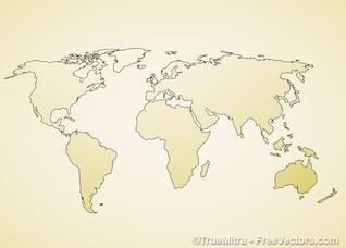 Vendimia mundo mapa de fondo