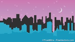 Edificios de la ciudad bajo la luna