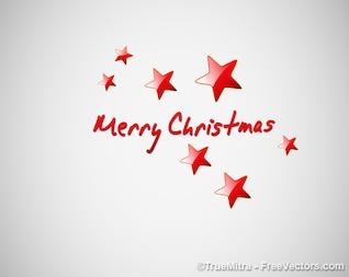 Tarjeta de Navidad con las estrellas rojas
