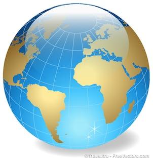 Gran cristal esfera terrestre