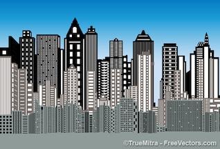 Ciudad edificios fondo 3d