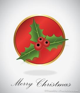 Navidad muérdago verde hoja roja backgrund