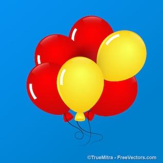 Cinco globos flotando en el cielo azul